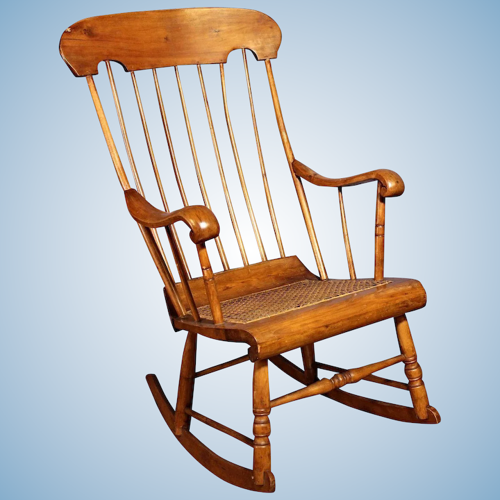 Prime 19Th C Antique American Spindle Back Caned Seat Rocking Chair Armchair Vintage Lamtechconsult Wood Chair Design Ideas Lamtechconsultcom