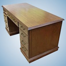 American Mahogany Kneehole Desk Secretary Writing Office Table Furniture Vintage