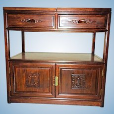 Art Deco Chinoserie Oak Server Cabinet Sideboard Buffet Bar Console End Table