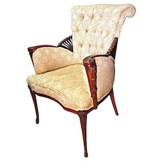Tufted Upholstered Fireside Mahogany Armchair Chair Side Accent Vintage Antique