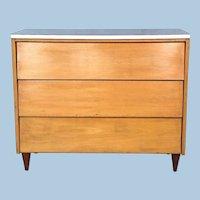 Mid Century Modern Blond Wood Chest of Drawers Dresser Bureau Credenza Buffet