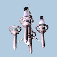 4-Arm Colonial Style Early American Chandelier Fixture Lamp Light Vintage Antique