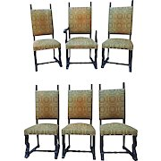Set Six 6 Spanish Style Mahogany Antique Dining Chairs Side Accent Armchair Rare