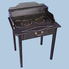 English 1920 Antique Black Painted Desk Table Secretary Console Server End Side