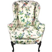 Parrot Exotic Upholstered Wingback Armchair Ottoman Chair Mid Century Modern