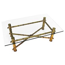 Faux Bamboo Hollywood Regency Mid Century Modern Glass Top Coffee Side End Table
