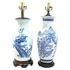 Pair 2 Chinese Porcelain Blue White Vases Table Lamps Home Decor Asian Vintage
