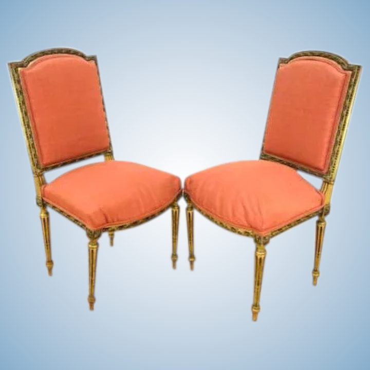 Incredible Pair 2 Louis Xv Style Gilt Carved Side Chairs Armchairs Sofa Antique Vintage Machost Co Dining Chair Design Ideas Machostcouk