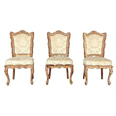Set 3 Baroque Style Carved Accent Side Chairs Armchairs Sofa Table Cart Vintage