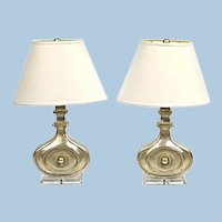Pair 2 Modern Design Silver Lucite Table Lamps Home Decor Vintage Mid Century