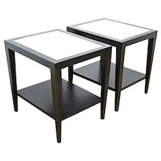 Pair 2 Black Painted Mirror Top Side End Lamp Sofa Coffee Tables Console Modern