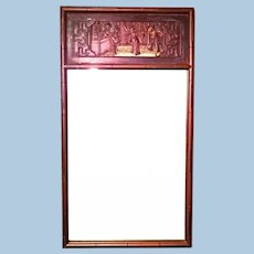 """29""""H Chinoserie Chinese Chippendale Hollywood Regency Faux Bamboo Mirror Modern"""