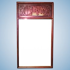 "29""H Chinoserie Chinese Chippendale Hollywood Regency Faux Bamboo Mirror Modern"
