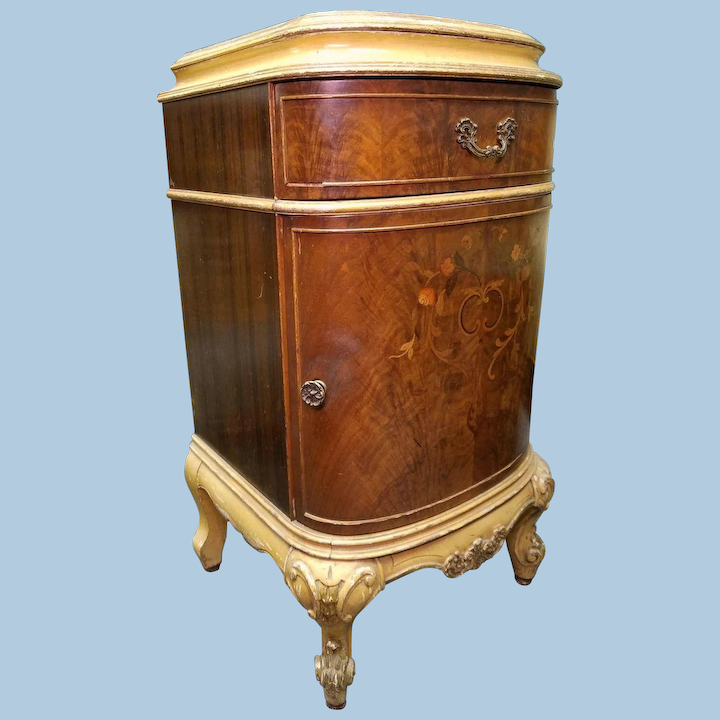 Antique Louis Xv Marquetry Inlaid Commode Nightstand End Side Table Treasure Island Interiors Llc Ruby Lane