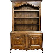 Louis XV French Country Provincial Cupboard Hutch Buffet China Cabinet Bookcase