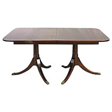 Fine Duncan Phyfe Style Mahogany Banded Dining Table Coffee Side Antique Vintage