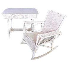 Rare Antique Victorian 19th C Wicker Table Rocking Chair Set Patio Garden Vintage