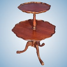 Antique English Style 2 Tier Dumbwaiter Pie Crust Table Side End Coffee Vintage