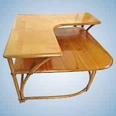 Heywood Wakefield Bamboo Maple Corner Table Coffee Side End Mid Century Modern