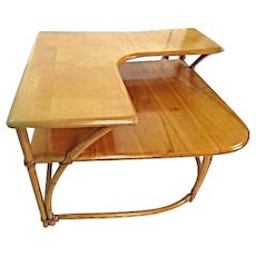 Heywood Wakefield Bamboo Maple Corner Table Coffee Side End Mid Century Modern