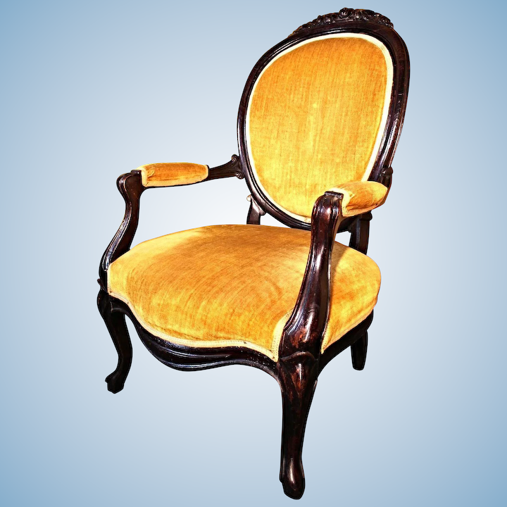 19th Century Antique Victorian Salon Parlor Upholstered Armchair
