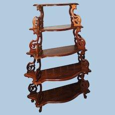 Victorian Walnut What Not Shelf Etagere Stand Curio Display Cabinet Bar Vitrine