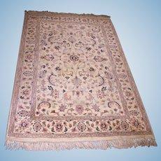 4x6 Handmade Indian Oriental Cream Blue Area Rug Carpet Vintage Antique Decor