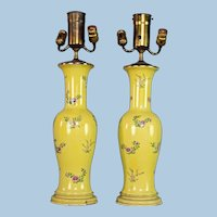 Antique Chinese Famille Rose Hand Painted Yellow Vases Table Lamps Floral Vintage