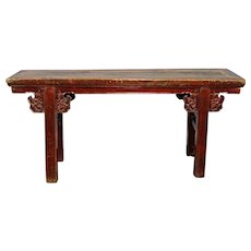 Rare Early Antique Qing Chinese Carved Painted Altar Table Console Bench Asian