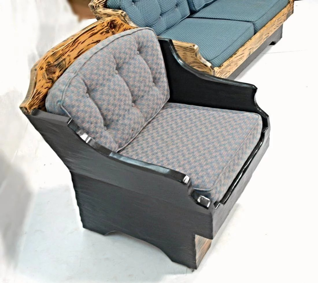Rare Rustic Country Set Couch Lounge Chair Sofa Chaise ...