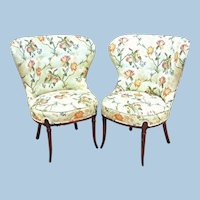 Pair 2 Fireside Fan Back Floral Side Chairs Armchairs Dining Settee Sofa Vintage