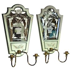 Pair 2 MASTERCRAFT Handmade Etched Mirror Sconces Light Lamp Candelabra Fixture