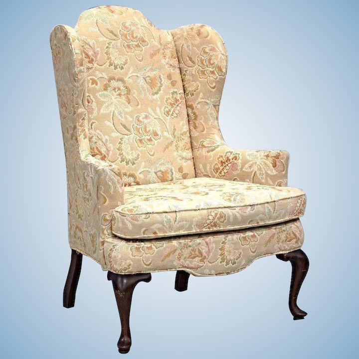 Brilliant Woodmark Originals Queen Anne Style Wing Back Armchair Chair Side Floral Vintage Theyellowbook Wood Chair Design Ideas Theyellowbookinfo