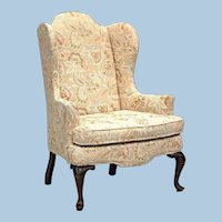 WOODMARK ORIGINALS Queen Anne Style Wing Back Armchair Chair Side Floral Vintage