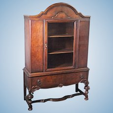 1800s 19th C HYMAN Walnut China Cabinet Breakfront Cupboard Commode Antique