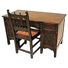 1920 Antique Jacobean Kensington Furniture Oak Table Desk Secretary Side Chair