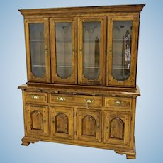 Early American Crown Glass Cherry China Cabinet Breakfront Bookcase Cupboard