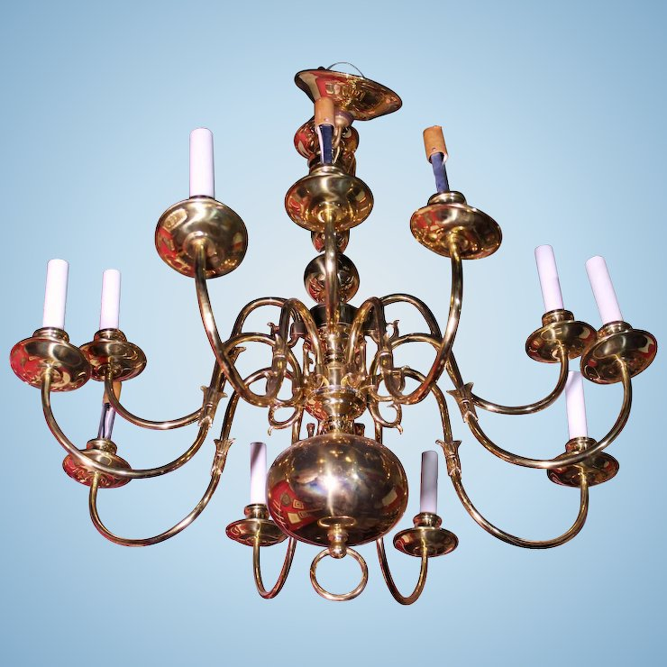 12 arm colonial williamsburg early american brass chandelier fixture 12 arm colonial williamsburg early american brass chandelier fixture lamp light aloadofball Image collections