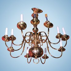 12-Arm Colonial Williamsburg Early American Brass Chandelier Fixture Lamp Light