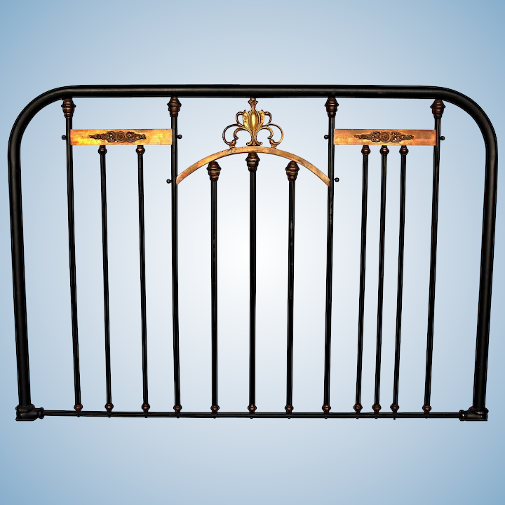 super popular 0978f f9f4e Antique Neoclassical Brass Mounted Iron Twin Bed Headboard Footboard Full  Metal