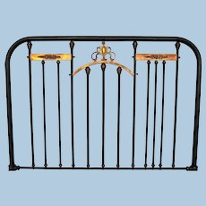 Antique Neoclassical Brass Mounted Iron Twin Bed Headboard Footboard Full Metal