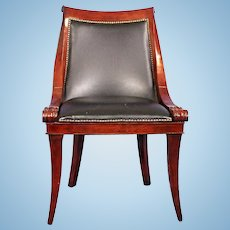 Neoclassical Mahogany Black Leather Half Arm Chair Side Accent Armchair Dining