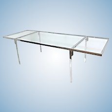MILO BAUGHMAN Chrome Glass Top Extension Dining Table Center Mid Century Modern