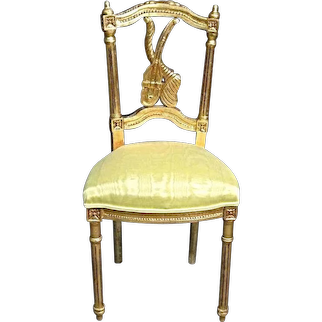 Louis XVI Style Gilt Vanity Powder Chair Bench Chaise Loveseat Sofa Vintage