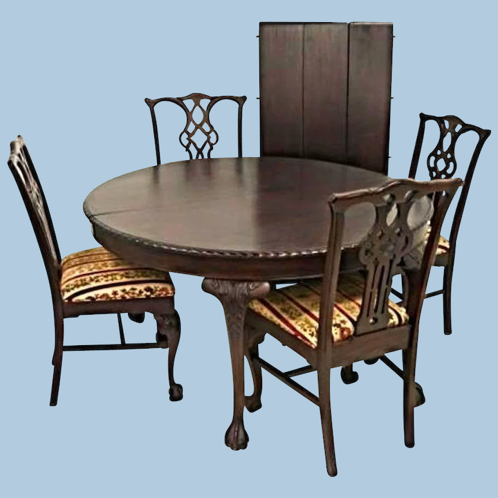 Antique Refinished Chippendale Dining Set Round Table 3 Leaves 4 Side Treasure Island Interiors Llc Ruby Lane