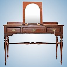 Rare Monitor Furniture Cherry Chippendale Poudre Table Dresser Antique Desk