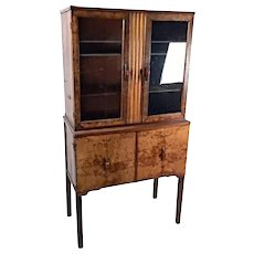 Antique Art Deco China Cabinet Bakelite Pulls Dining Bookcase Wardrobe Vintage