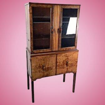 Antique Art Deco China Cabinet Bakelite Pulls Dining Bookcase Wardrobe Vintage