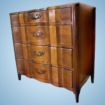 Louis XV French Provincial Leather Top Chest of Drawers Dresser Commode Buffet
