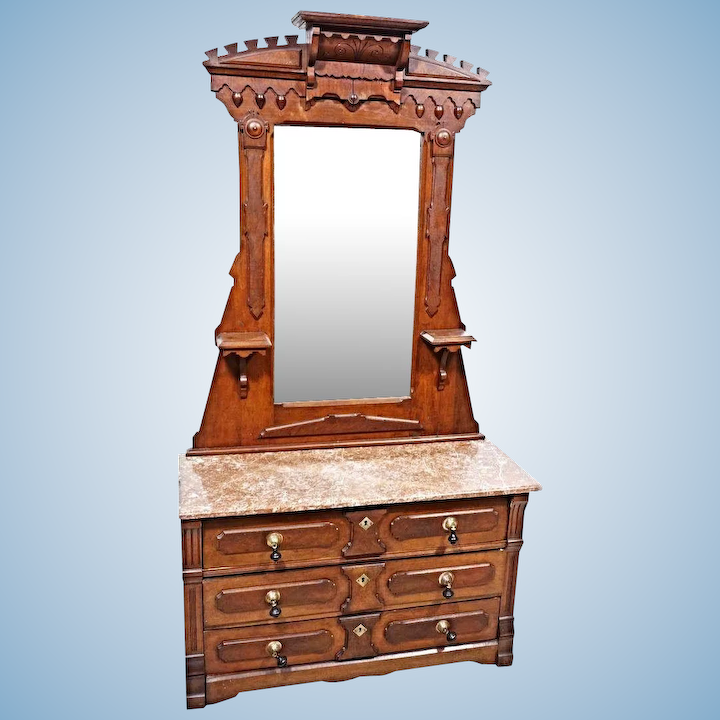 19 C Antique Walnut Victorian Dresser Vanity Mirror Chest Bedroom Set Bed  Buffet